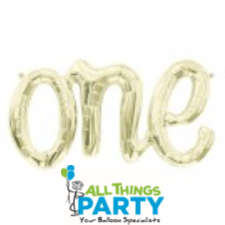 ONE Script Foil Balloon White Gold #01288