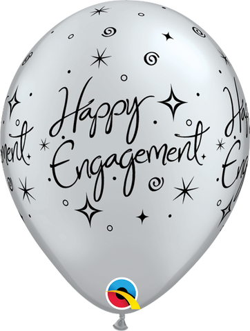 Happy Engagement Latex Printed Balloons Black & Silver Assortment 10pk