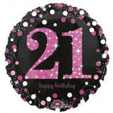 21st Birthday Foil Black & Magenta 45cm Balloon #33784