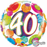 40th Birthday Foil Multi Dots 45cm Balloon #37900