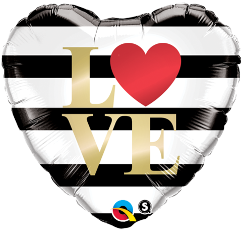 LOVE Black & White Stripe Heart Foil 45cm Balloon #21748