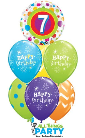 7th Birthday Dots & Stripes Balloon Bouquet