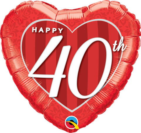 Anniversary Foil 40th Red Heart 45cm Balloon #49115