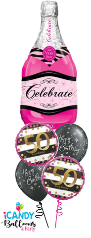 50th Birthday Pink Champagne Celebrate Balloon Bouquet #50BD11