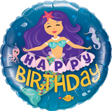 Mermaid Happy Birthday Foil 45cm Balloon #57799