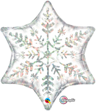 Snowflake Silver 6point Foil Supershape Balloon #20263