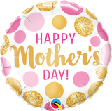Happy Mother's Day Foil Pink & Gold Dot Balloon #55830