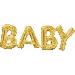 BABY Foil Joined Word Gold Balloon #33763