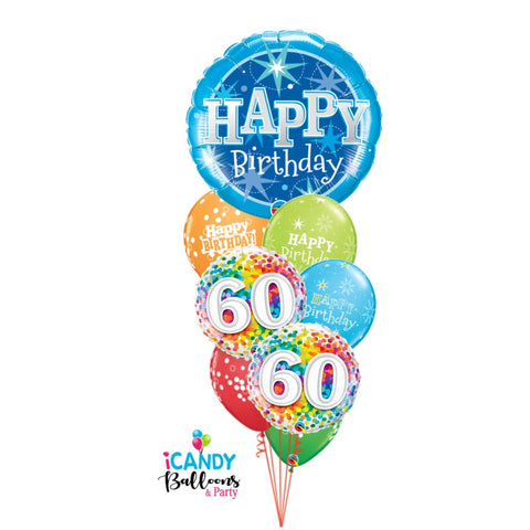 Happy 60th Birthday Blue Confetti Extravaganza Balloon Bouquet