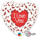 I Love You Heart Foil with Holographic White Hearts Balloon #34813