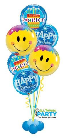 Happy Birthday Smiley Face Blue Balloon Bouquet #HBday07