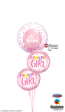Baby Girl Bunting Confetti Bubble Balloon Bouquet #BG12