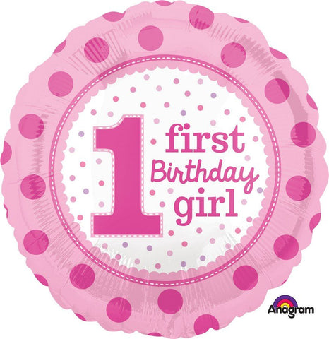 1st Birthday Girl Pink Dots Foil 43cm Balloon #32540