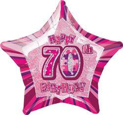 70th Birthday Foil Pink Star 45cm Balloon #55119