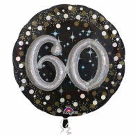 60th Birthday Foil Sparkling Holographic 81cm Balloon #32155