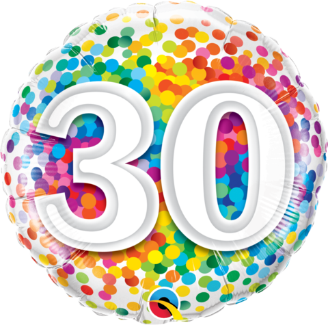 30th Birthday Foil 45cm Confetti Balloon #49526