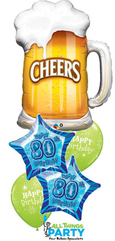 80th Birthday Cheers Balloon Bouquet #80BD04