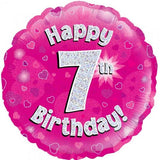 7th Birthday Pink Foil Balloon Oaktree #22757