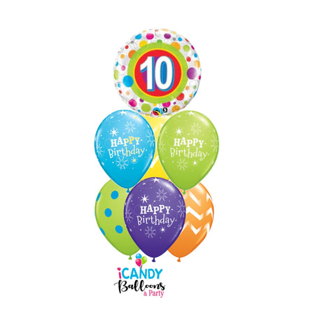 10th Birthday Dots & Stripes Balloon Bouquet