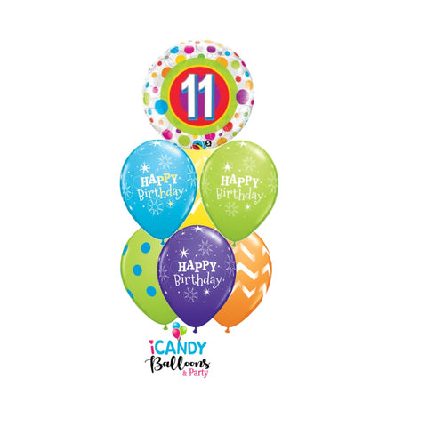 11th Birthday Dots & Stripes Balloon Bouquet