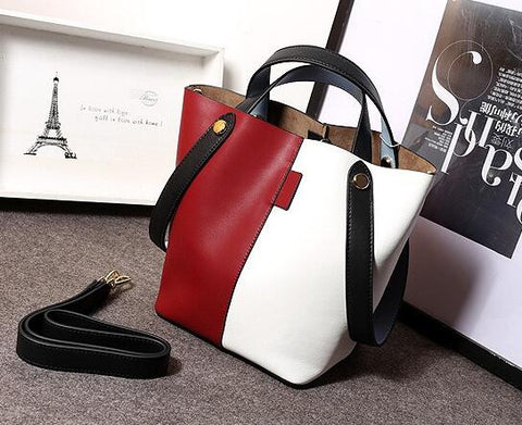 Trendy Color Collision Leather Shopping Tote