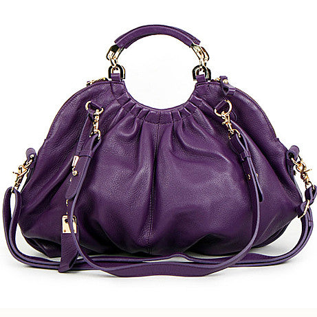 High-Fashion Side Zipper Handbag with Adjustable Shoulder Strap - Purple
