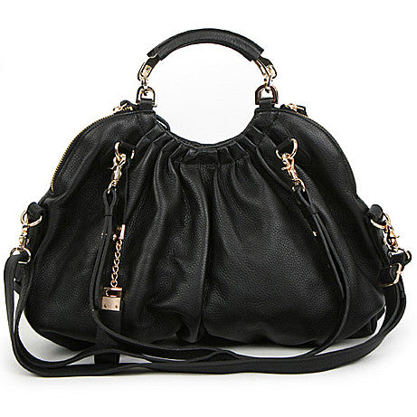 High-Fashion Side Zipper Handbag with Adjustable Shoulder Strap - Black