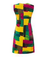 Halina - Vibrant yet classy stretch-fabric dress flatters your silhouette