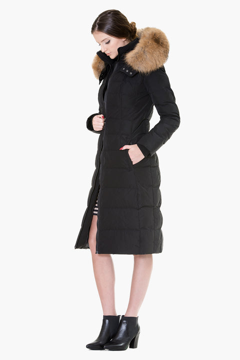 Down coat with insert back belt