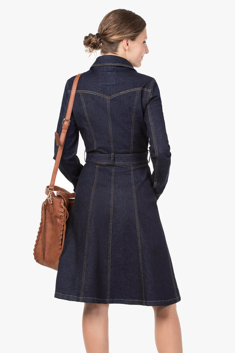 Classic  Stretched Denim Dress-Coat.