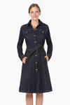 ClassicStretched Denim Dress-Coat.