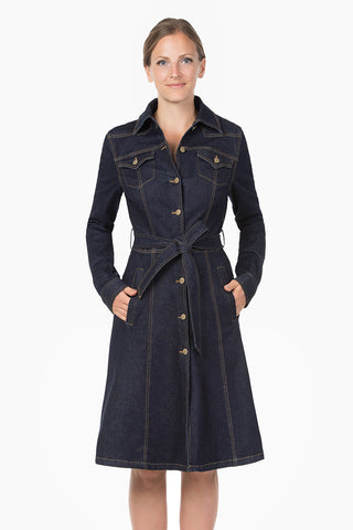 Kaia - Stretched Button-down Denim Dress / Coat.