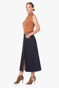 A-line Stretch Denim Maxi skirt