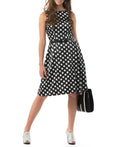 Polka-dot dress with fit-and-flare silhouette