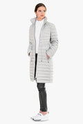 Silver Hooded Quilted Shell Down Jacket