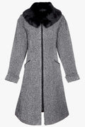 Wool coat with detachable real fur collar