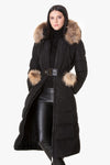 Sophisticated long coat with pom-pom