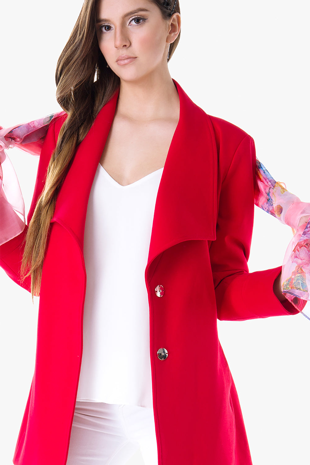 Maryla - Stretched jersey belted jacket