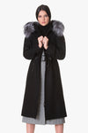 Waist adjustable wool coat