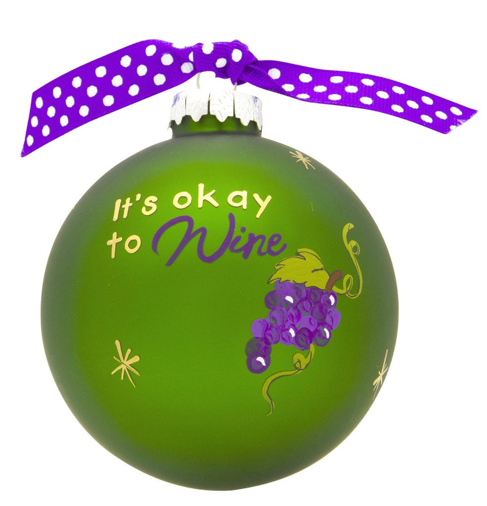 IT'S OKAY TO WINE SIP HAPPENS VINTAGE HANDPAINTED GLASS BALL