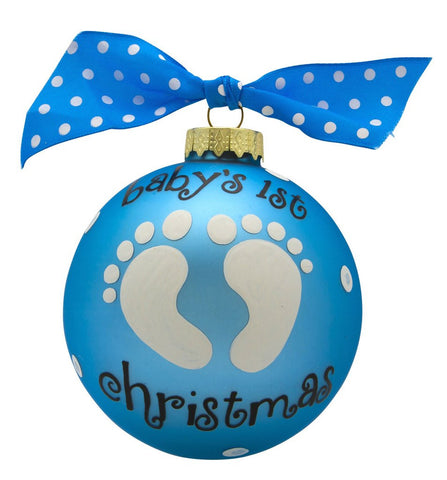 VINTAGE HANDPAINTED GLASS BALL CHRISTMAS ORNAMENT-BABY'S FIRST-BABY BOY FEET