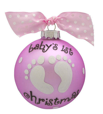 VINTAGE HANDPAINTED GLASS BALL CHRISTMAS ORNAMENT-BABY'S FIRST-BABY GIRL FEET