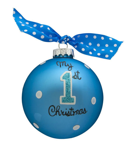 VINTAGE HANDPAINTED GLASS BALL CHRISTMAS ORNAMENT-BABY'S FIRST-MY 1ST XMAS BLUE