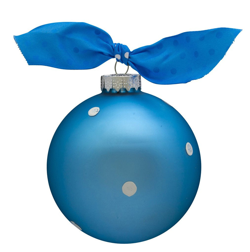 MY 1ST XMAS BLUE VINTAGE HANDPAINTED GLASS BALL