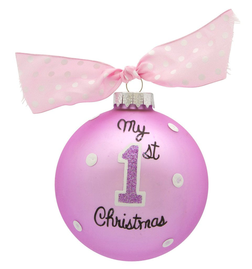 MY 1ST XMAS PINK VINTAGE HANDPAINTED GLASS BALL