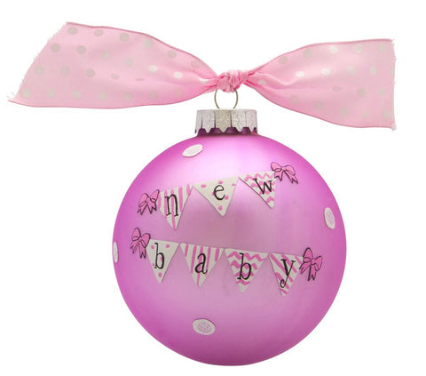 VINTAGE HANDPAINTED GLASS BALL CHRISTMAS ORNAMENT-BABY'S FIRST-NEW BABY GIRL