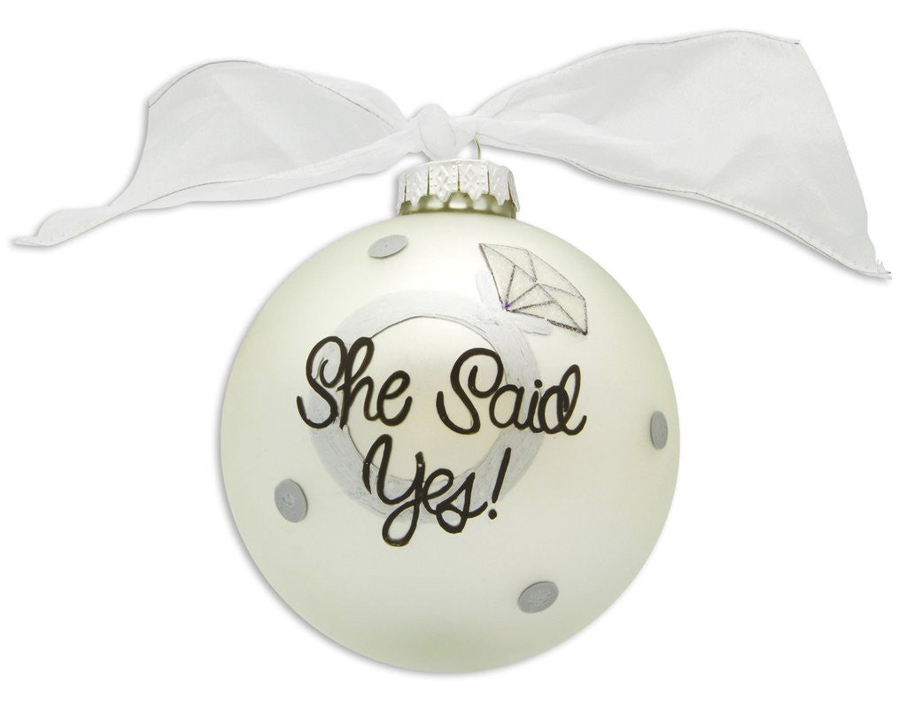 ENGAGEMENT SHE SAID YES VINTAGE HANDPAINTED GLASS BALL