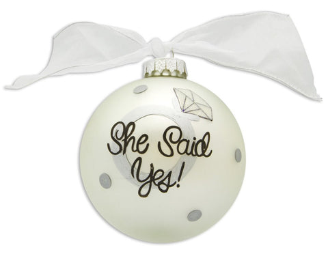 VINTAGE HANDPAINTED GLASS BALL CHRISTMAS ORNAMENT-ENGAGEMENT SHE SAID YES
