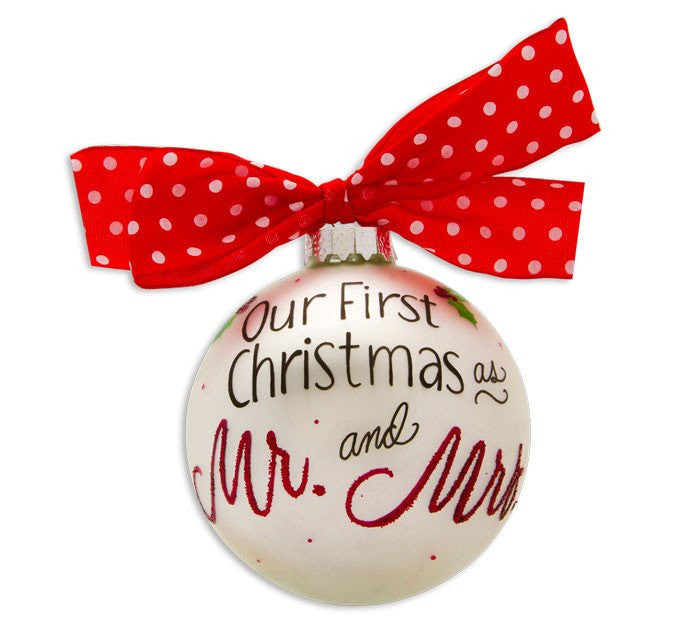 OUR 1ST XMAS AS MR. & MRS. VINTAGE HANDPAINTED GLASS BALL