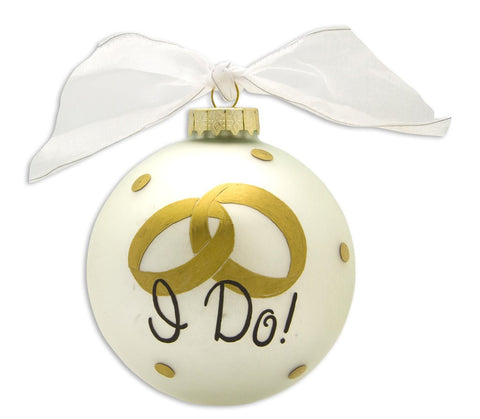 VINTAGE HANDPAINTED GLASS BALL CHRISTMAS ORNAMENT-COUPLES-I DO